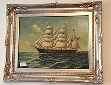Framed oil on board, Clipper Ship, bears signature