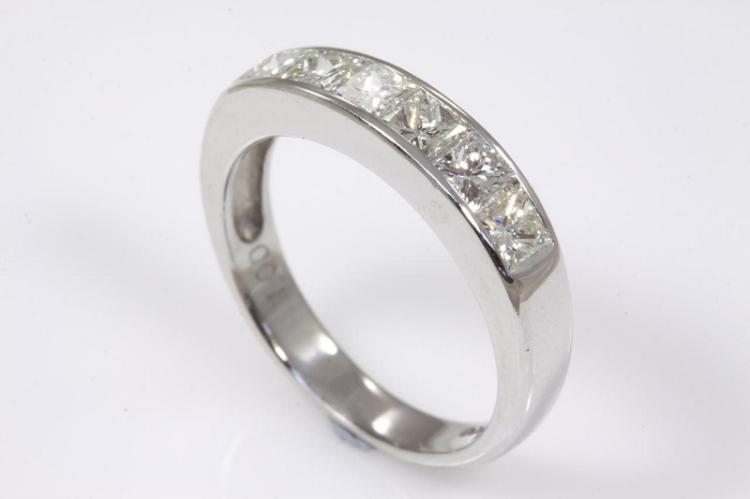 eternity ring with 6 princess cut diamonds totalling