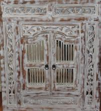 Carved Rustic Prison Mirror With 2 Doors H90cm X L80cm
