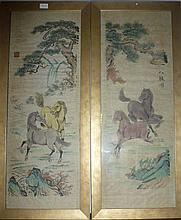 Pair Of Chinese Pictures With Horses, Trees &