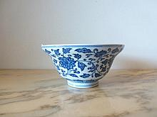 Chinese Blue & White Bowl Decorated With Flowers