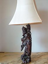 Beautiful Chinese Rosewood Antique Lamp In The