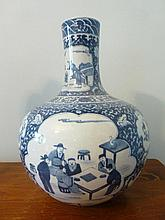 Large Blue & White Porcelain Vase Decorated With