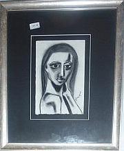 Camilla Dickerson charcoal, Nicola, signed. 59 x