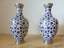 Pair Of Chinese Cloisonnie Blue & White And Gold