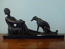 Large bronze of Art Deco lady and hound on marble