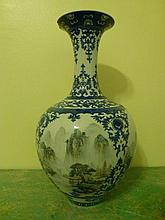 Chinese Vase Mountain, River, & Village Scene