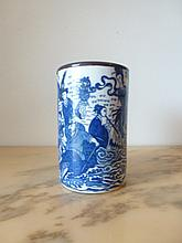 Chinese Blue & White Porcelain Brush Pot Decorated