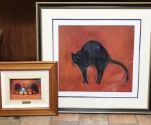 Two Eris Fleming Oil on Boards One The Pink Chimney Signed Lower Right Image 15cm x 22cm Frame 42cm x 48cm Together With Apprehensive Cat Signed Lower Right Image 50cm x 54cm Frame 64cm x 69cm