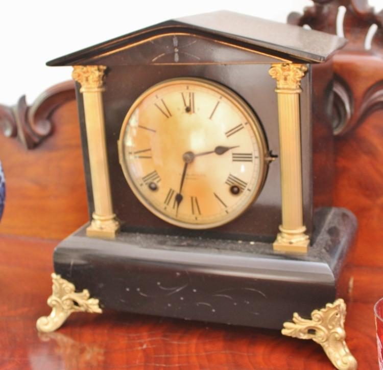 A Saunders Of Sydney Slate Mantle Clock H30cm X W30cm