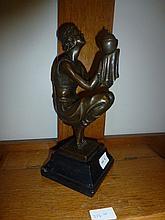 Lantern Girl, bronze sculpture after Duverent