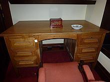 Edwardian Oak Six Drawer Desk