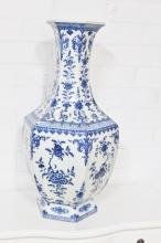 Ching period blue and white hexagon vase painted with flowers. Chien Lung six character mark to the base 68cm x 28cm.