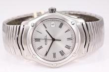 Ebel Classic stainless steel quartz mens watch. Silver dial, date, Swiss Made, model# 1215437. With Ebel bracelet and clasp. With Ebel box. 12 month warranty.