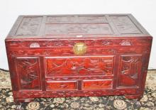 Chinese Carved Camphor Wood Chest 68cm x 110 x 60cm