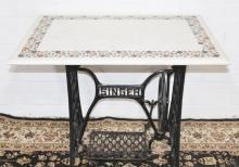 Beautiful Singer Sowing Machine Base With Marble Top Flower Decoration Inlay To Top