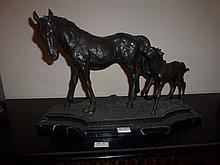 Mare and Foal, bronze sculpture On Marble Base