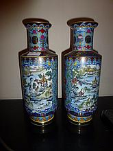 Pair Of Chinese Porcelain Vases Highly Decorated