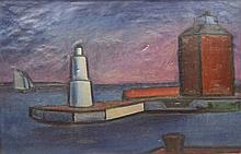 William LONNBERG (1887-1949): Majakka Helsingör. Huile sur toile. Signé en