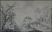 Aignan Thomas DESFRICHES (Orléans 1715-1800), attribué à : Paysage animé près d'un pont. Crayon. Non signé. 18x26cm. Encadré sous verre