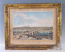 Louis GARNERAY (1755-1837): Vue de la Ville et du Port de Bordeaux, quai de la Bastide. Aquatinte par Sigismond Himely imprimée en couleurs chez Basset à Paris. La feuille 41 x 53 cm (Rousseurs et tâches). Cadre accidenté.