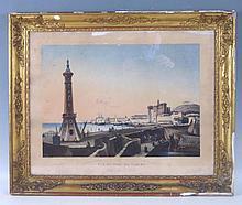 Louis GARNERAY (1755-1837): Vue du port de Naples, prise du Môle. Aquatinte par Sigismond Himely. Impression en couleurs chez Basset à Paris. 41 x 53 cm. Petites rousseurs et taches. Cadre accidenté