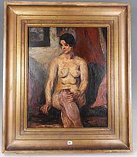 Charles KVAPIL (Anvers 1884 – Paris 1957) : Nu féminin. Panneau. 41x33cm. Signé et daté en bas à gau