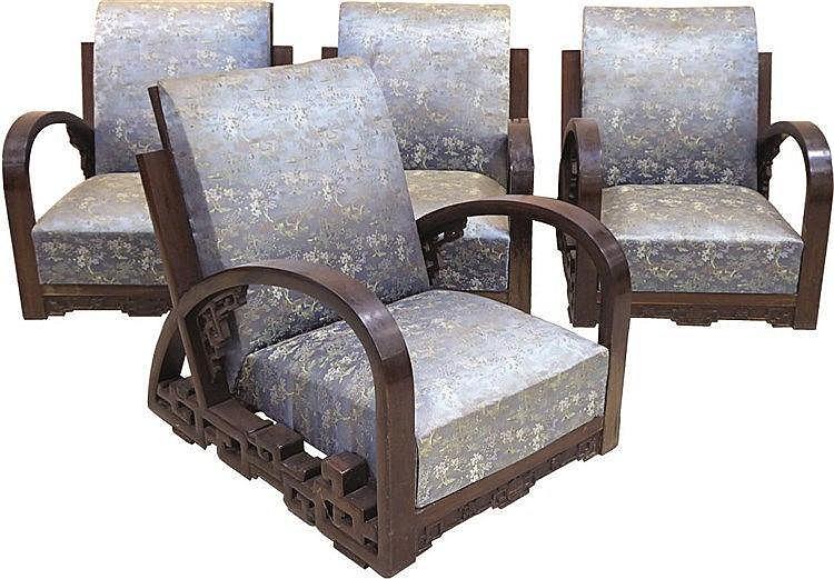 Quatre fauteuils en bois exotique accotoirs arqu travail i - Fauteuil en bois exotique ...