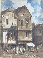 Louis Adolphe HERVIER (1818-1879): Maisons du vieux Rouen. Aquarelle. Signé