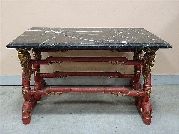Table basse plateau en marbre vert de mer et deux pi temen for Table basse plateau marbre