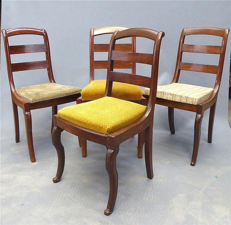 quatre chaises chassis en acajou dossier renvers barr. Black Bedroom Furniture Sets. Home Design Ideas