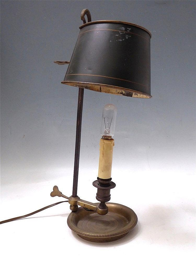 petite lampe bouillote en bronze abat jour en tole laqu ver. Black Bedroom Furniture Sets. Home Design Ideas