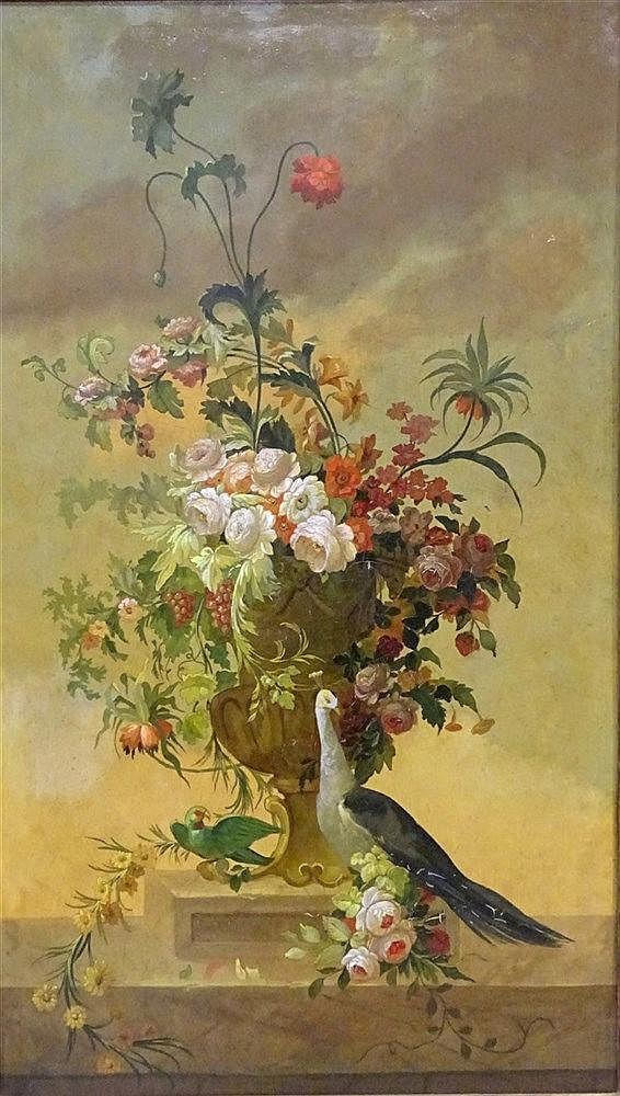 Nature morteau bouquet de fleurs et paon sur entab for Bouquet de fleurs wine