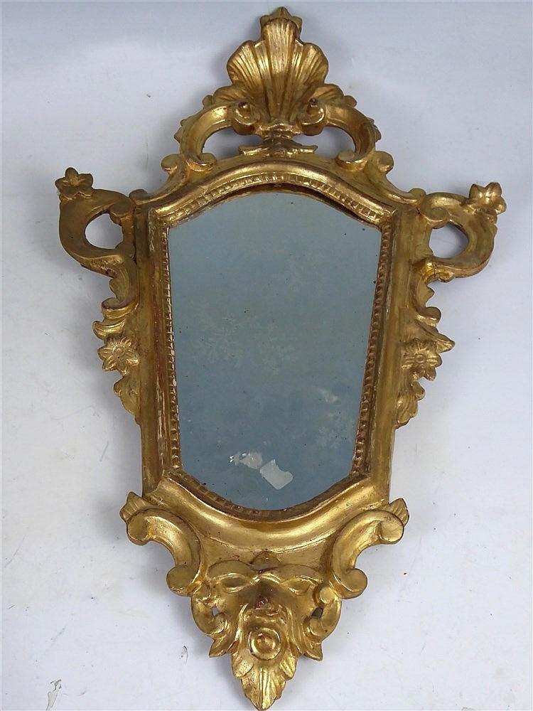 Miroir de forme triangulaire en bois et stuc dor - Miroir ancien bois dore ...