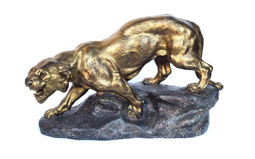 Stunning 19th century Lioness sculpture on stone base by Cartier