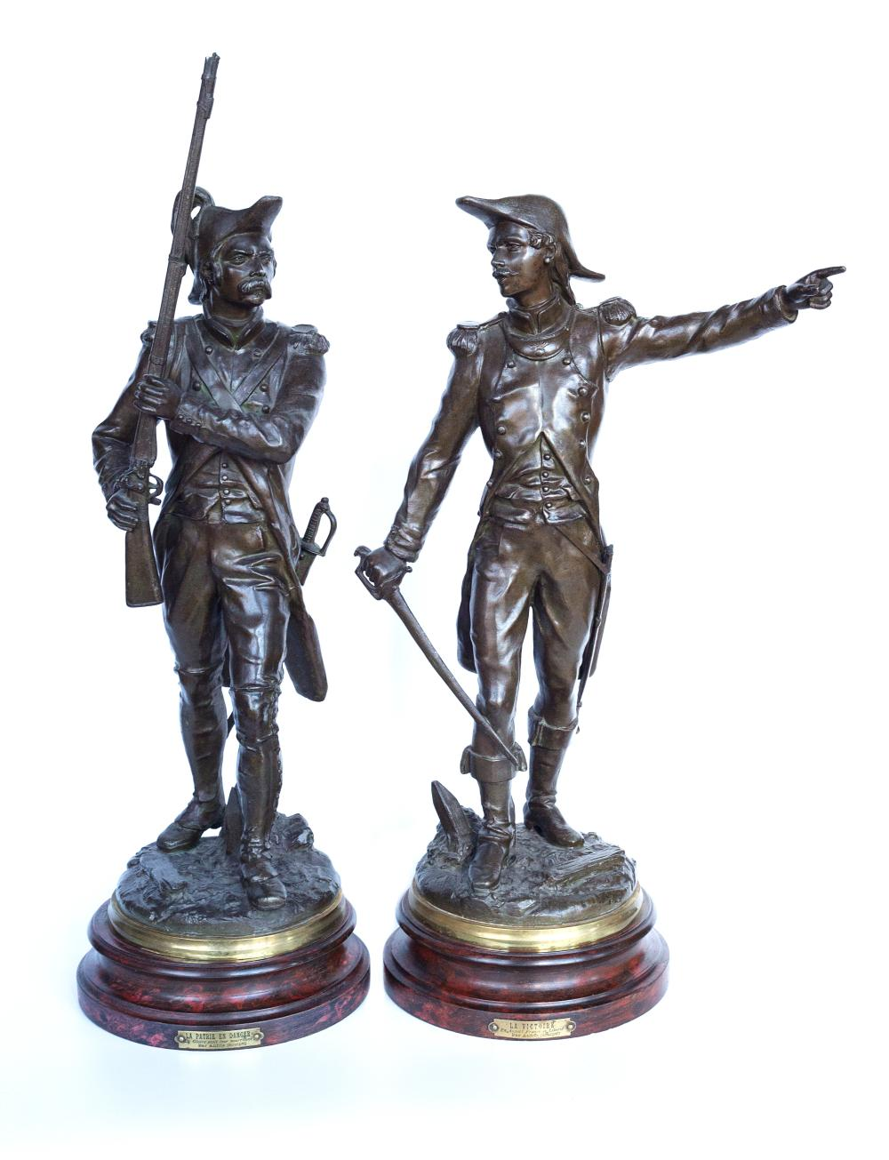 "Pair of Rare Charles Anfrie (1833-1905) sculptures ""LA Victoire"" and ""La Patrie en Danger"""