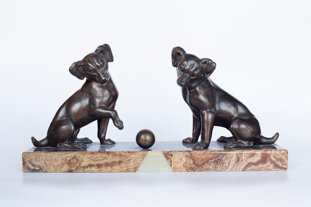 "Bronze sculpture on a Marble base by Irenee Rochard (1906-1984). ""Two Fox Terrier puppies playing with a ball"