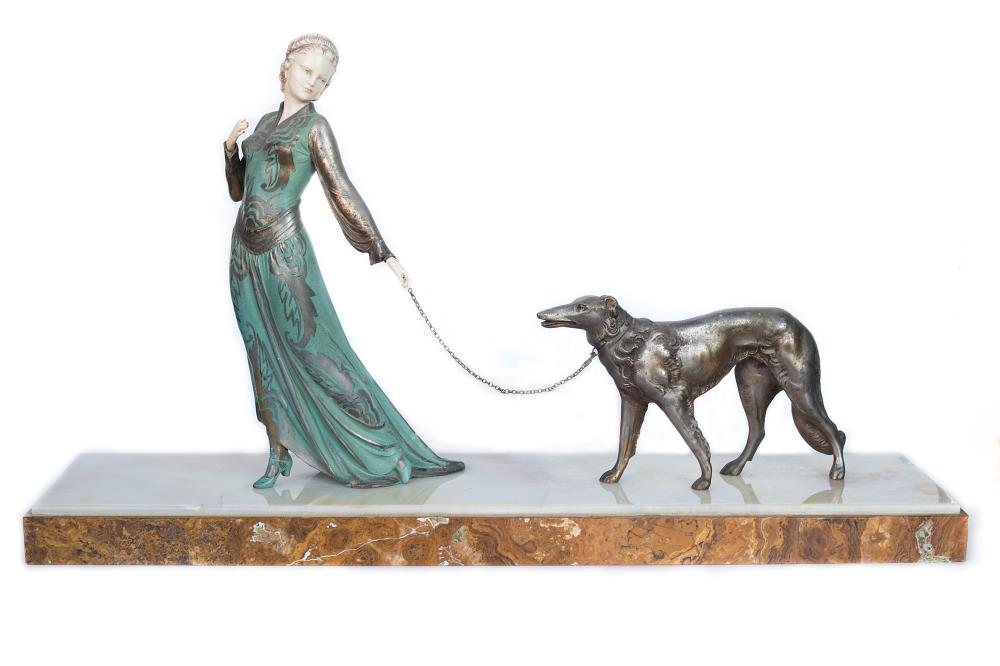 "J. Roggia Circa 1920 ""Elegante Et Son Chien"" Bronzge sculpture of a lady and a dog on a Marble base"