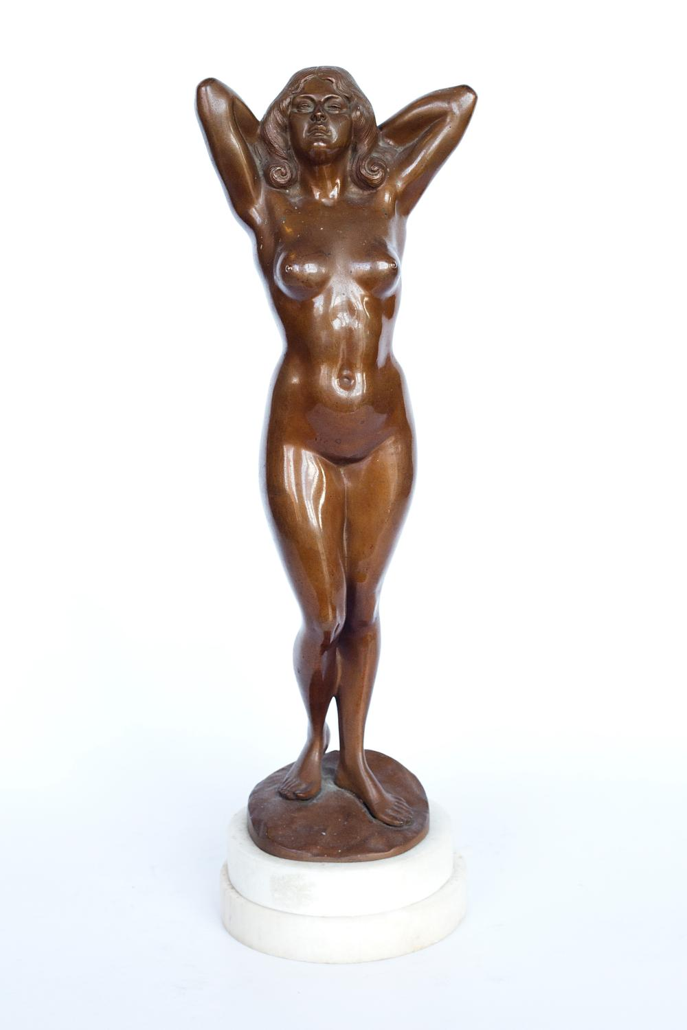 Bronze figure of a nude woman on a marble base signed by Gyula (Julious) Maugsch