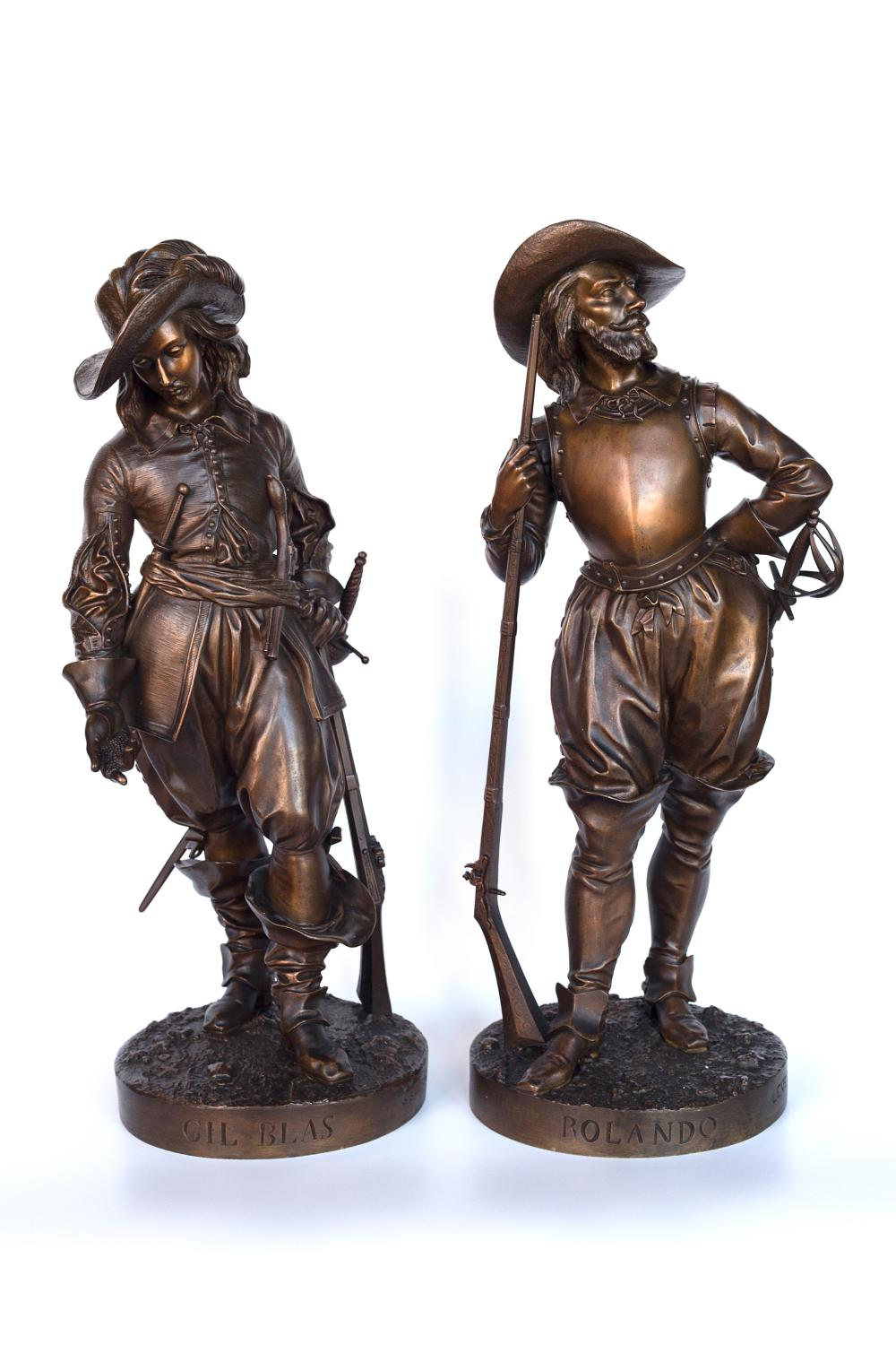 Pair of Bronze E. Quesnel Sculptures - Rolando and Gil