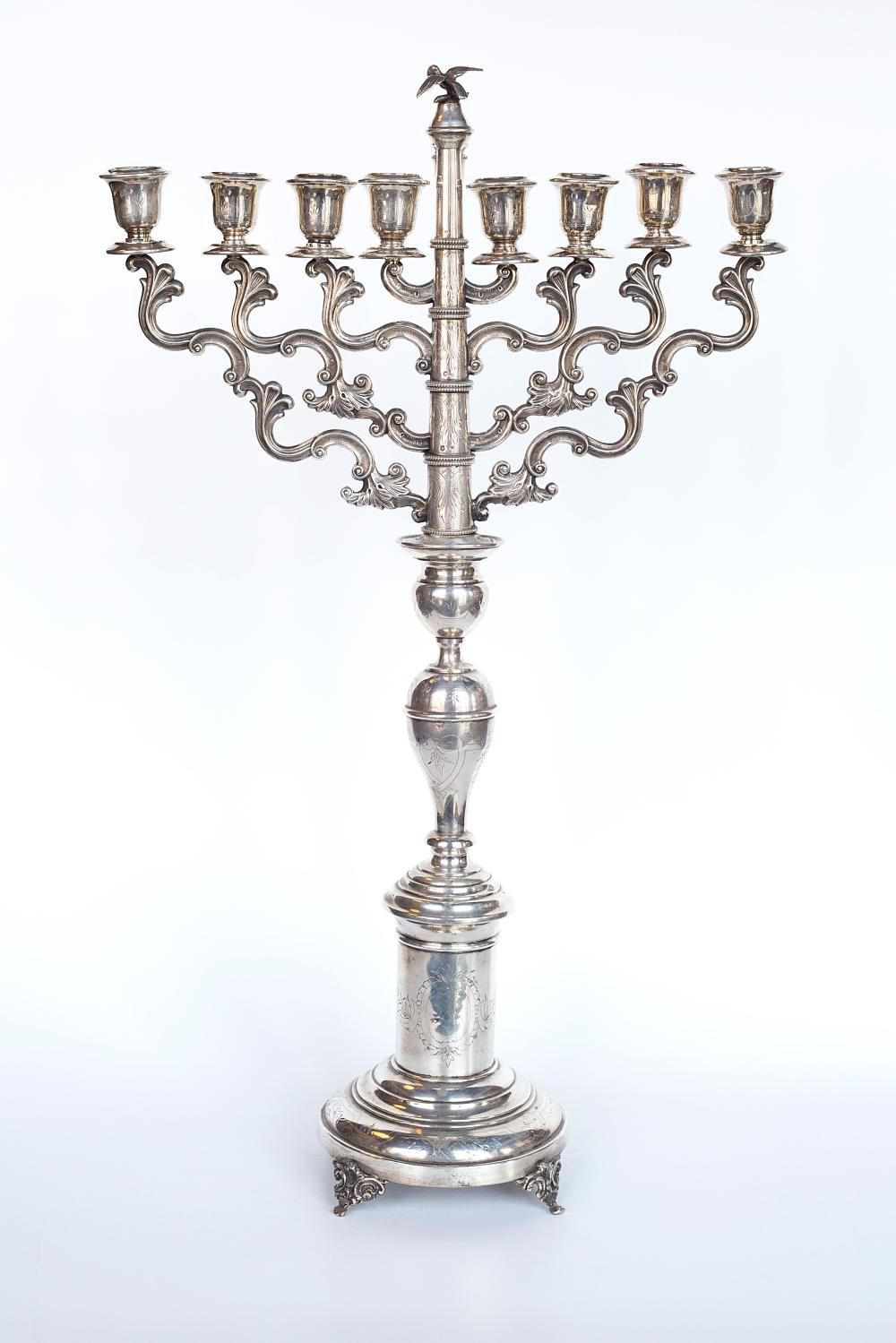 Late 18th century, hallmarked Silver transformable Menora/Candle stick
