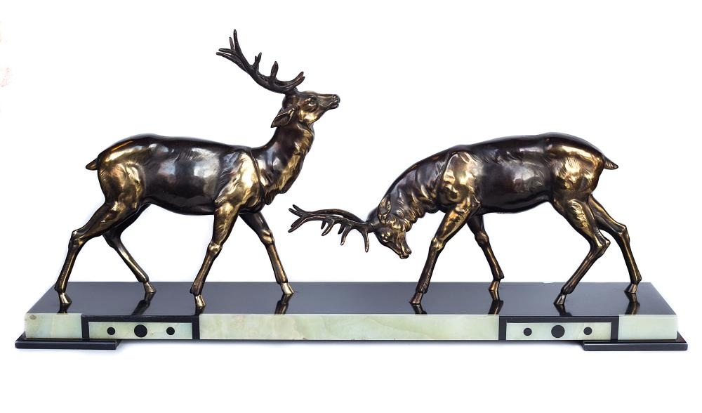 Fabulous signed Art Deco deer statue with a lovely coloured marble base by Simousin