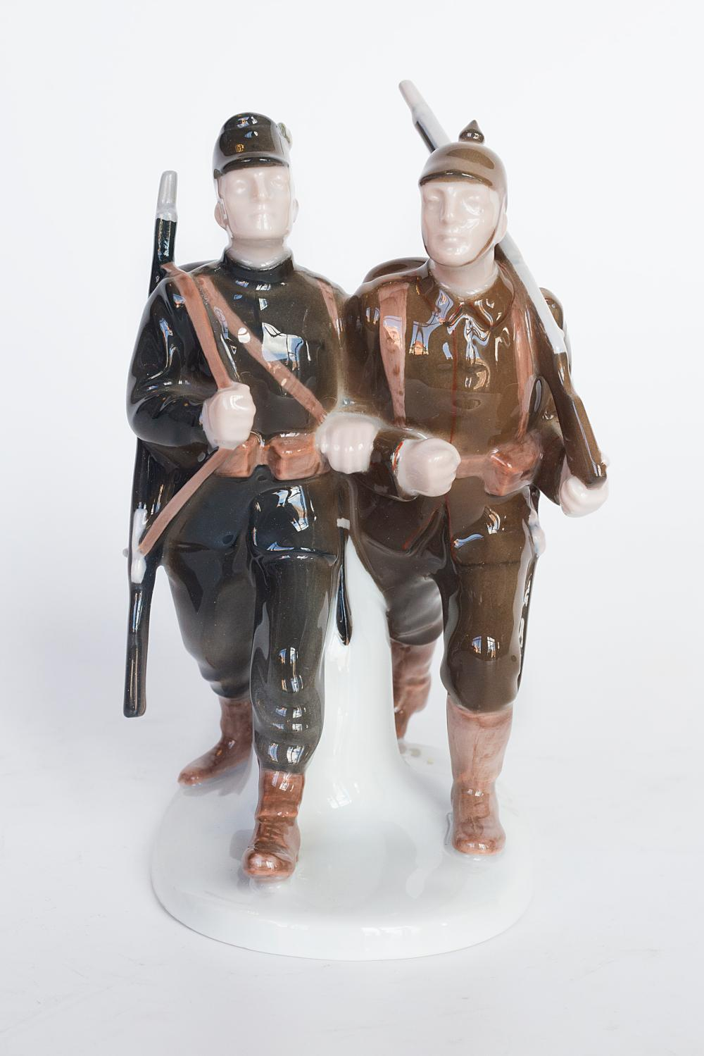 Rare Art Deco figurine portraying tow soldiers by Albert Caasmann for Rosenthal