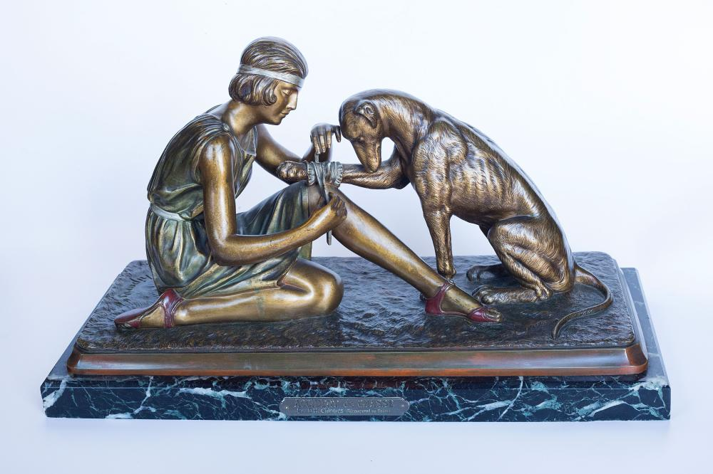 "Dimetri Chiparus Bronze ""Accident De Chasse"" portraying a Woman and Dog"