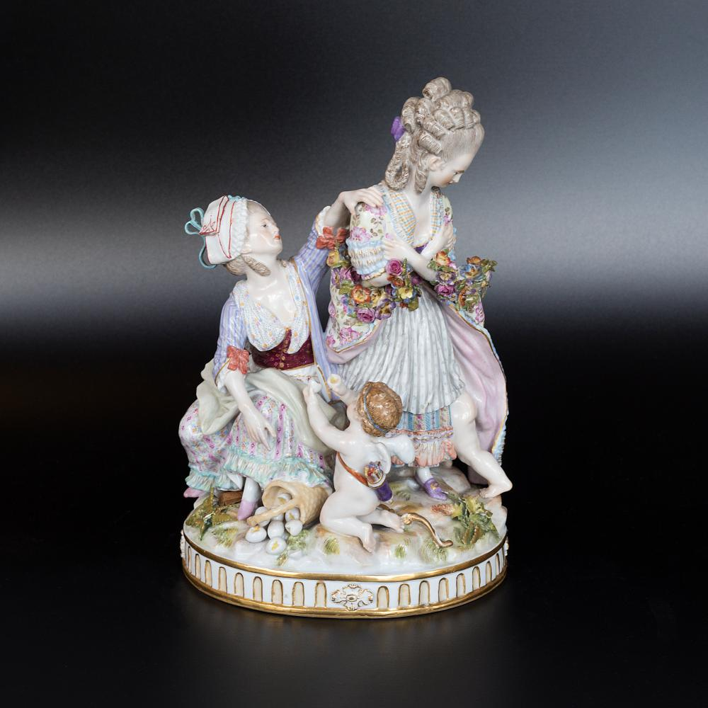 "Meissen hand painted porcelain Figurine ""The Broken eggs"""