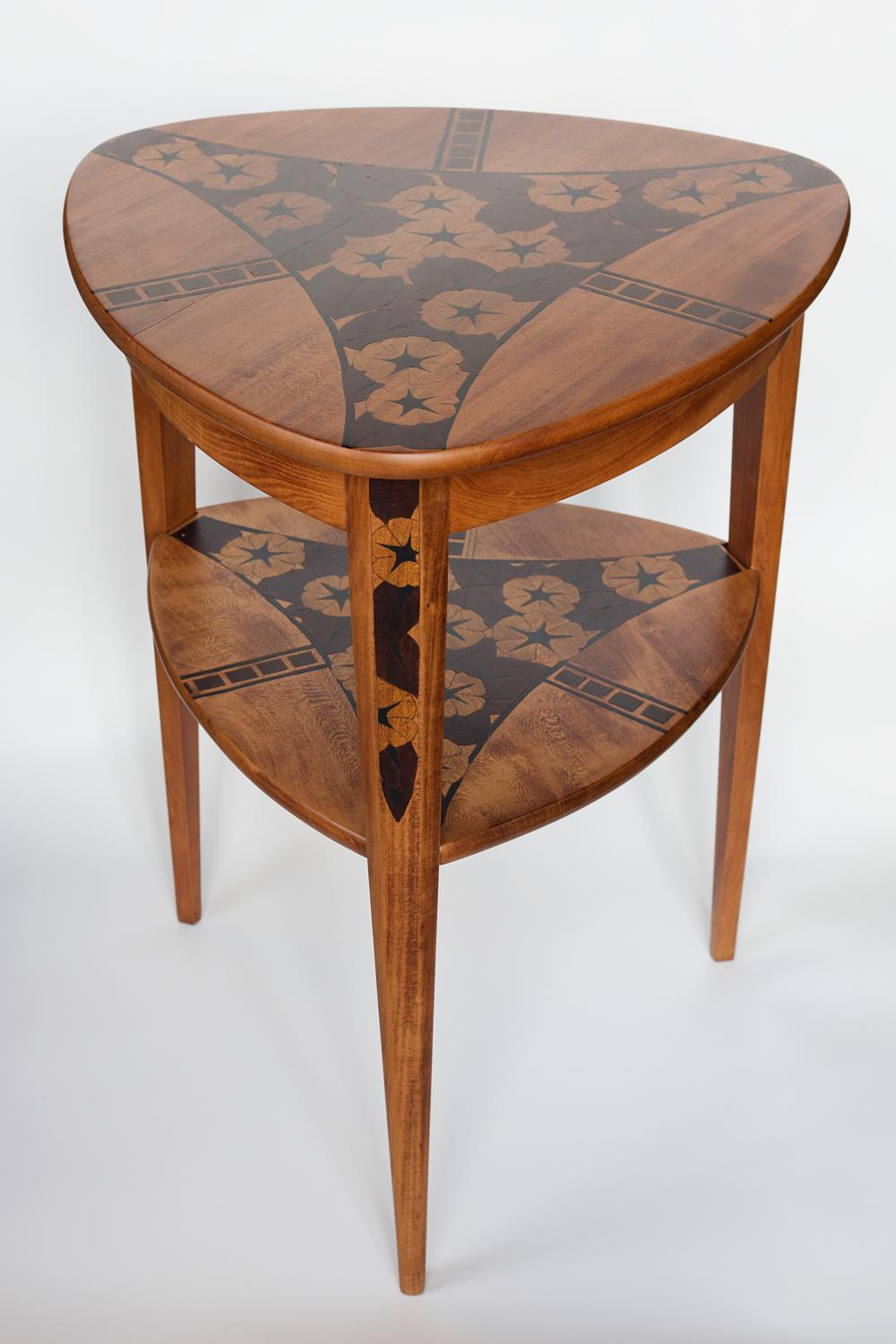 Art Deco period wooden table made in Marquetry tehnique.