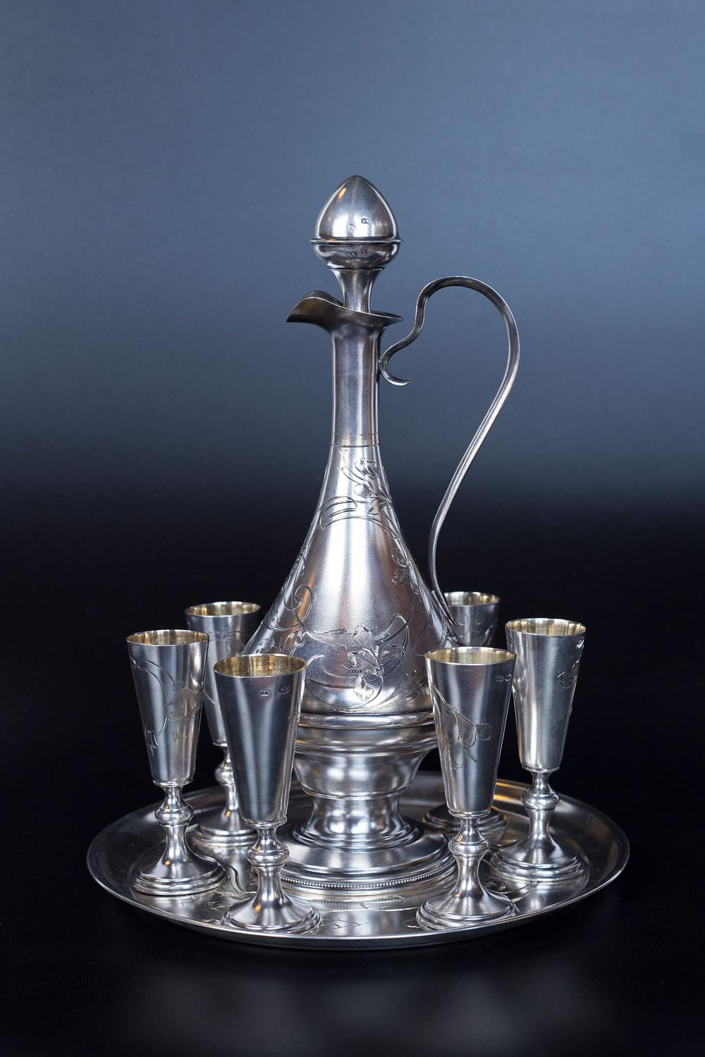 Late 19th century Russian silver smith Ivan Khlebnikov set of 6 vodka cups, carafe and tray