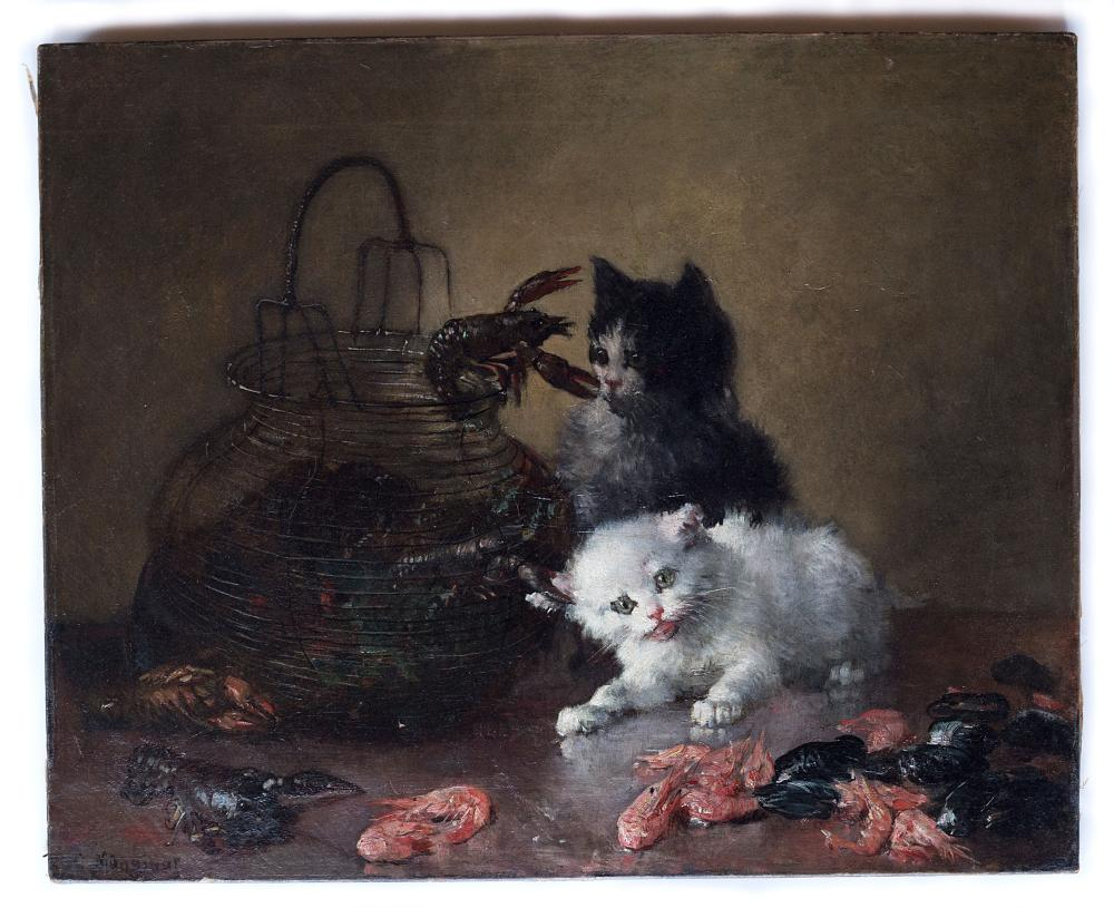 Charles Monginot (1825-1900) painting portraying Kittens and seafood, oil on canvas