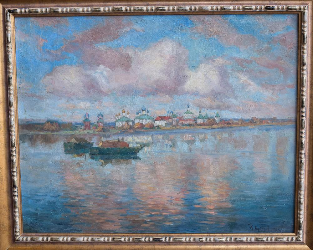 "Konstantin Gorbatov (1876-1945) Oil painting on canvas ""Rostov the great. On the lake Nero""."