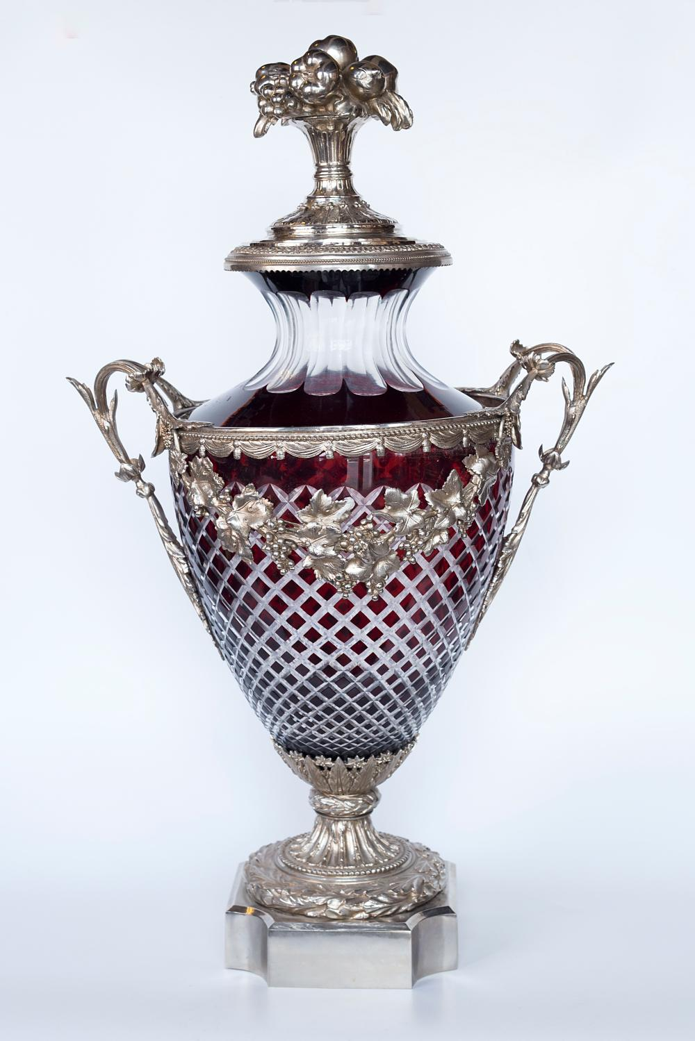 Pair of massive Baccarat cut crystal and silver-plated bronze decorative vases